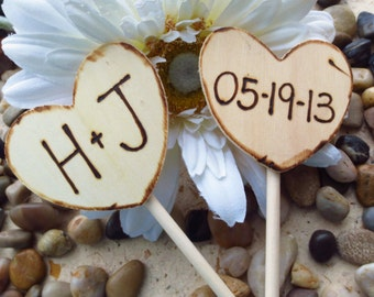 Rustic Wedding Decorations Wood Cupcake Toppers for Wedding or Engagement Pie Toppers - Your Initials and Wedding Date on Wood Hearts
