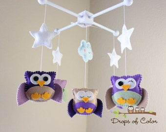 """Baby Crib Mobile - Baby Mobile - Nursery Owl Mobile - Purple Girl Owls """"Five Owls in the night"""" (You can pick your colors)"""