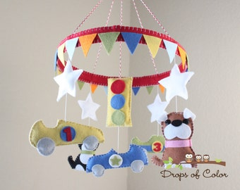Baby Crib Mobile - Baby Mobile - Race Car & Dogs Mobile - Circle Frame Mobile - Pennant Banner (You can pick your colors)