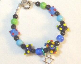 Multi-Colored Lampwork Beaded Bracelet