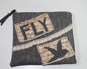 Large WOOL ZIPPER POUCH // Black White Herringbone Fly Bird
