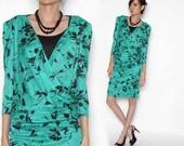 Vintage 80s Green Faux wrap Black Floral Dress/ Working Girl / Medium