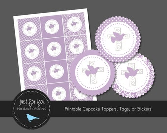 Religious Cupcake Toppers / Tags / Stickers - YOU PRINT - Baptism / Christening / Baby Dedication / First Communion / Confirmation