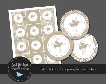 Confirmation Cupcake Toppers / Tags / Stickers - YOU PRINT - Religious / Baptism / Christening / Baby Dedication / First Communion
