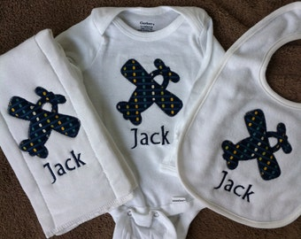 Personalized Baby Boy Gift Set - Shirt, Burp Cloth, Bib - Baby Boy - Monogrammed Gift Set - Airplane