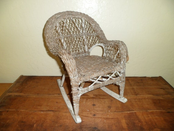 Victorian Wicker Doll 39 S Rocking Chair Teddy By Thelongacreflea