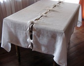 White Natural Linen Tablecloth with Bows, Easter tablecloth, Christmas tablecloth