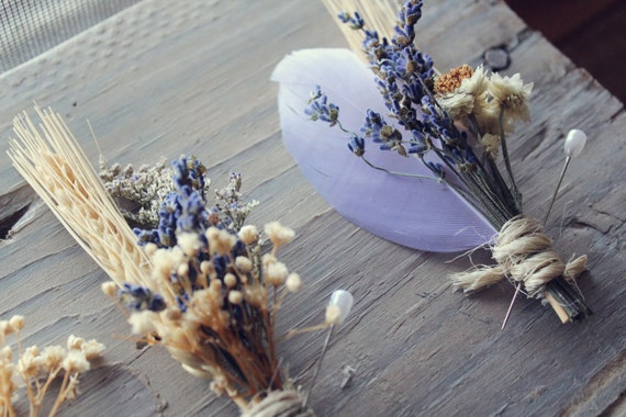 dried wildflowers and feathers boutonnieres - set of 4 - lavender buttonhole, wheat boutonniere - LUKE