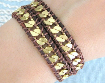 Chain Wrap Bracelet on Red Brown Leather Gold Chain with a Button Clasp