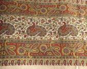 Vintage Cotton Paisley Fabric Border Table Cloth, Vintage Indian Bedspread, Vintage Paisley, Bohemian Tablecloth, Bohemian Bedspread
