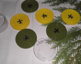 Vintage Mid Century Six Plastic Gessner Fleur de Lis Coasters Yellow Green, Mid Century Coasters, Vintage Table Protector, Vintage Dining