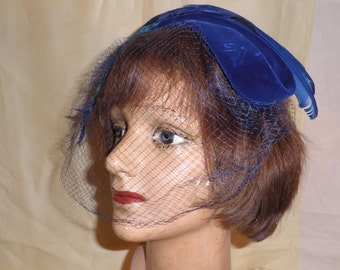 Vintage Blue Velvet Netted Feather Hat by Therese Ahrens, Vintage Millinery, Fifties Hat, 1950's Hat