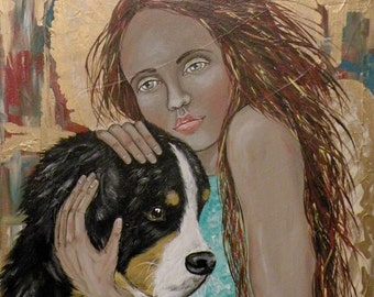 """Folk Art Angel with Dog Portrait PRINT of Original Painting """"Faithful and True"""" by Lore"""