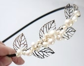 pearl leaves side tiara- ivory freshwater pearl, silver filigree leaves wedding headband