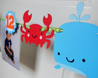 Under the Sea Ocean Animals First Birthday Party - First Year Photo Clothespin Banner - Ocean Party Decorations - Picture Banner - Sea Decor