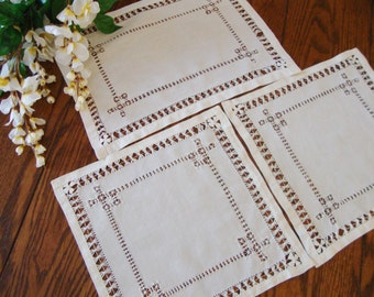 Antique Linen Doilies Set of Three Drawn Thread Work Handmade Tray Liners