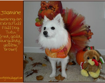 Extra Full Whimsical Fall Dog Tutu- red, burgundy, brown, gold, yellow