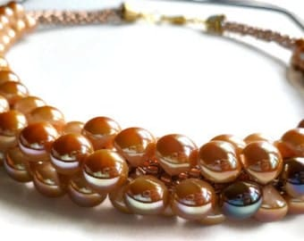 Beaded Kumihimo chunky necklace in tan and brown