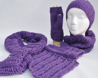 Knitting Pattern scarf, cowl, head warmer and fingerless mittens.