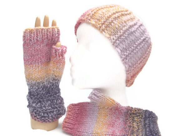 Fingerless mittens and matching earwarmers. Pink purple orange marble  yarn. Hand knitted.