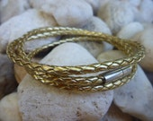 Gold Leather Wrap Bracelet/Necklace.Stainless Steel.Unisex.