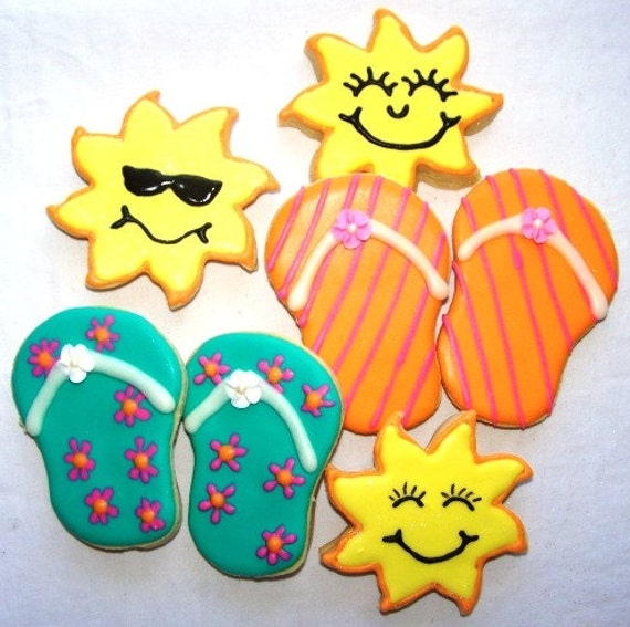 Flip Flop sugar cookies - One Dozen