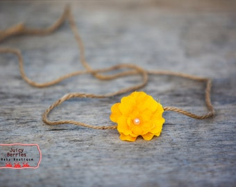 Yellow Flower Headband,  Newborn Headband, Halo Headband, Newborn Photography Prop, Open Halo Headband, Photo Prop