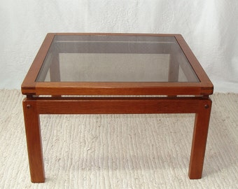 Mid Century  Modern Teak Coffee Table Glass Top