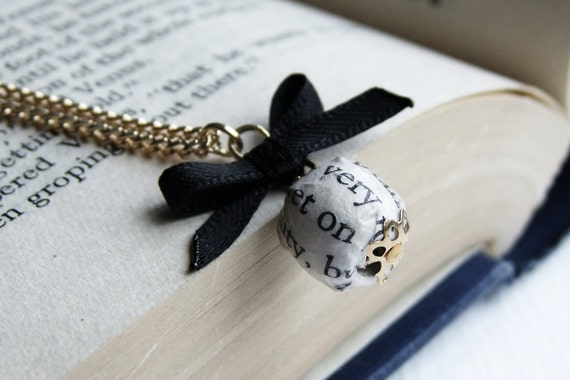 Book page bead and black ribbon bow necklace, gold plated chain