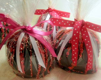 Valentine's Day Chocolate Caramel Apples - 3 pack