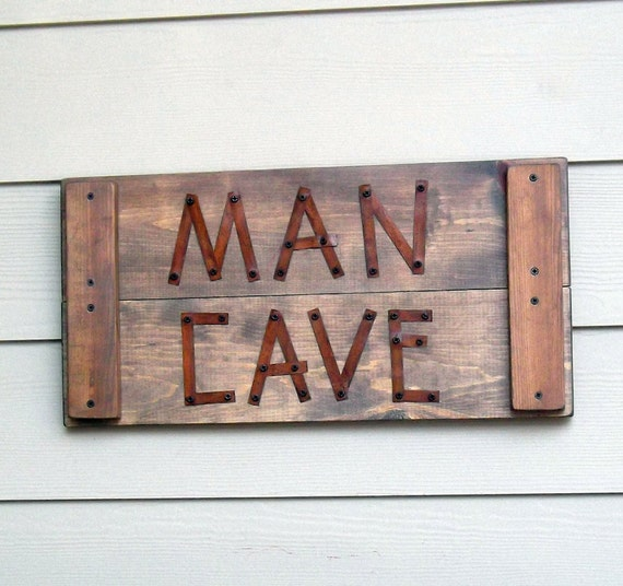 Man Cave Signs Metal : Rustic man cave sign masculine rusty metal reclaimed
