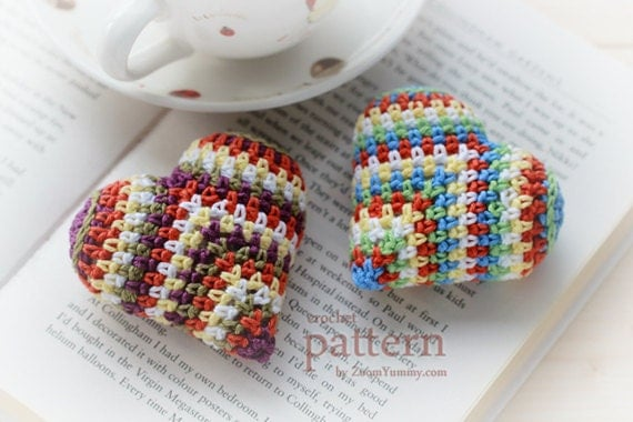 Crochet Pattern Happy Colorful Crochet Heart - PDF Pattern With Step-by-Step Picture Tutorial