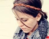 The Boho Band, Bohemian Braid Headband in Cognac, Indie, Tribal Style, Braided Headband, Bohemian Bestseller