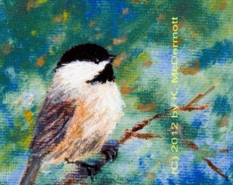 Chickadee Detail Print from Sunny Days Chickadee Pair - Bird 1 - Brushstroke Enhanced