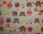 Fox Hollow, Elevandale mushrooms, foxes, stump houses on light blue background By Mona Luna Organic GOTS certified cotton 1/2 or 1  yard