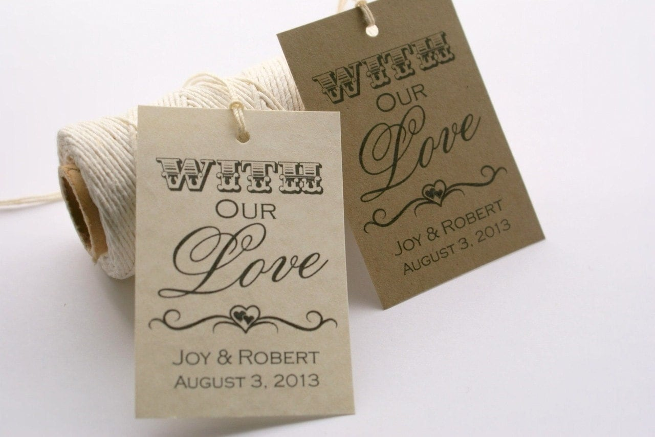 Free Printable Wedding Gift Tags: Printable Wedding Favor Tags With Our Love By EventPrintables