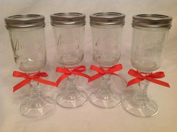4 half pint redneck champagne glasses mason jar hillbilly - Stemmed mason jars ...