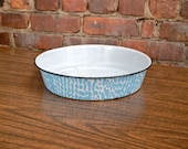 Light Blue Dotted Agate Dish Enamel Ware