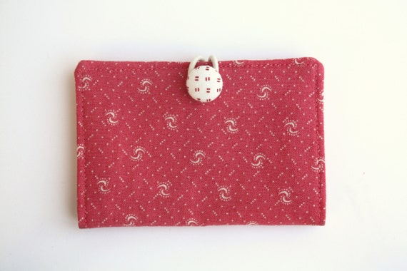 Holiday Sale/Card Holder Wallet, Coral Red, Business Card Holder, Credit Card Case, Gift Card Holder
