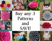 Buy Any 3 PDF Patterns Tutorials and SAVE - Choose from Flower Pillow Patterns, Hairclip Flower Patterns, Purse Patterns, Coaster Pattern