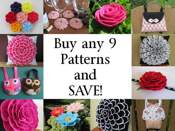 Buy ANY 9 PDF Patterns /Tutorials and SAVE - Choose from Flower Pillow Patterns, Hairclip Flower Patterns, Purse Patterns, Coaster Pattern