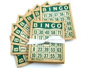 Vintage Bingo Cards - Set of Eight - Green - Parker Brothers