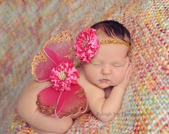 Butterfly Wings, Newborn Photo Prop, Fuchsia Hot Pink, Baby Girl, Gold Rhinestones, Glitter Elastic, Ready To Ship