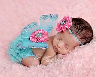 Newborn Butterfly Wings, Photo Prop, Baby Girls, Aqua Turquoise, Pink Flowers, Rhinestone Centers