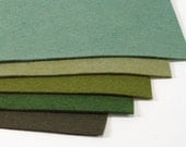 Green Felt bundle: Frog and Fauna,  wool felt collection, hand sewing, craft felt, wool craft felt, craft supplies