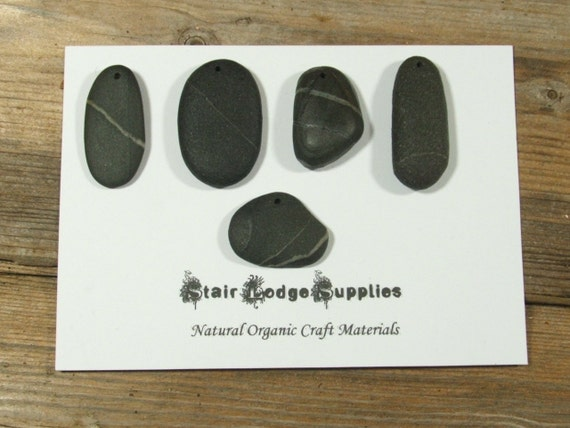 Beach Stone Pendant Pieces, 5 beautiful top drilled beach Pebbles.