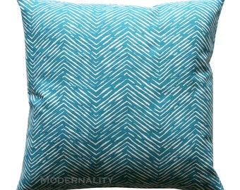 CLEARANCE Couch Pillow Covers, Aquarius Dark Turquoise Cameron Chevron Pillow Cover, 18x18 Zippered Pillow, Teal Pillow, Black Friday SALE