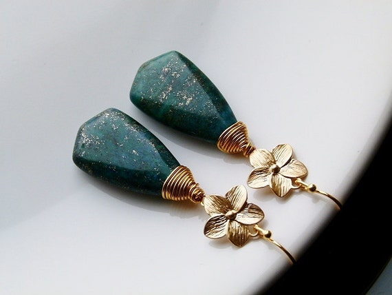 Gold plated copper wire wrapped earrings with green-blue chrysocolla shields with pyrite