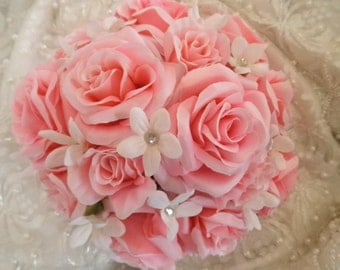 Pink Rose Wedding Bouquet. Roses and Stephanotis Jasmine Brides Maid or Maid of Honor Bouquet