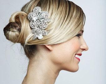 SALE Crystal wedding bridal flower haircomb brooch